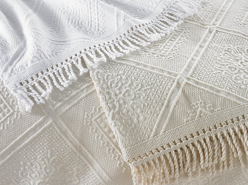 Cotton Fringed Bedcover Ecru