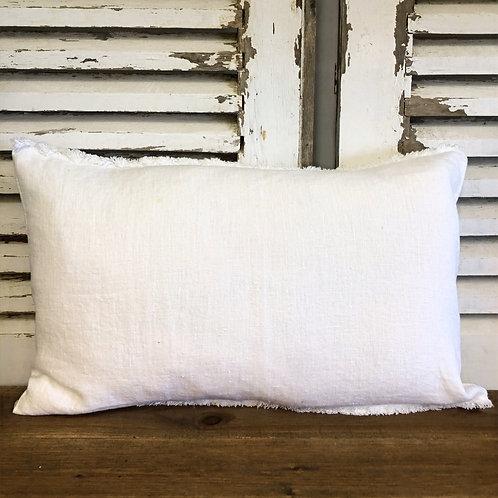 Fringed Rectangular Linen Cushion White