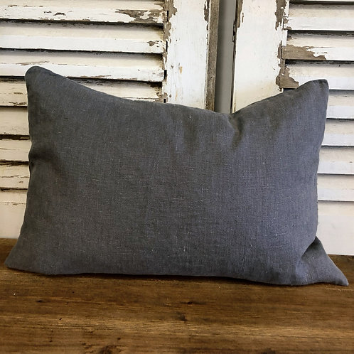 Rectangular Linen Cushion Charcoal