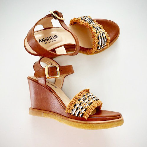 Leather and Raffia Wedge by Angulus