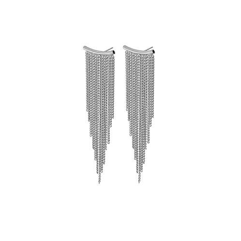 Alaya Chain Earrings Rhodium - by Dansk