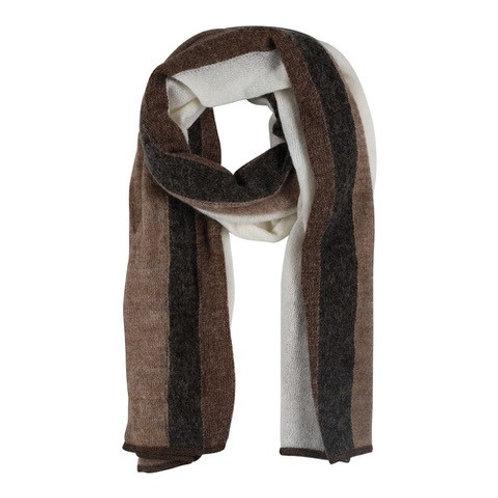 Etine Stripe Knit Scarf Brown by Gustav