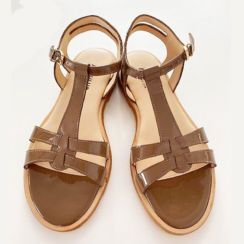 Flat Patent Sandal Mocha by Angulus