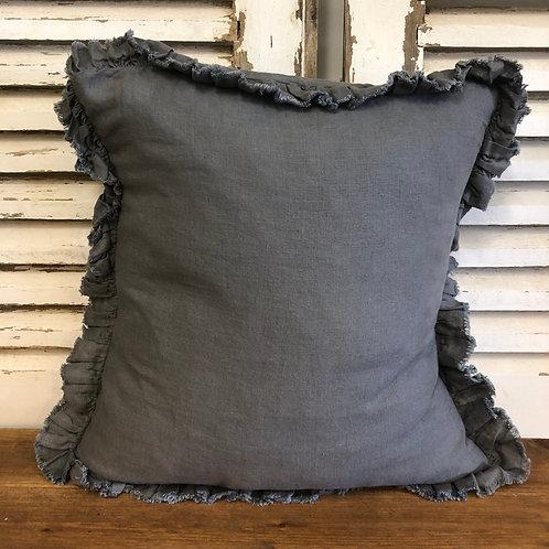 Ruffle Linen Cushion Charcoal