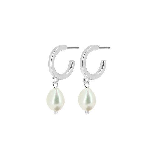 Audrey Pearl Hoop Earrings Silver - by Dansk
