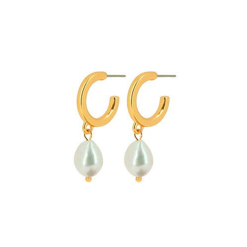 Audrey Pearl Hoop Earrings Gold - by Dansk