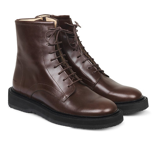 Laced Leather Boots with Inside Zip - by Angulus
