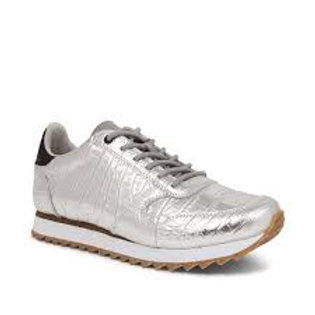 Ydun Croco Shiny Silver Trainers by Woden