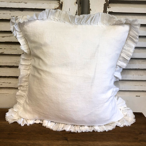 Ruffle Linen Cushion Cover Off White