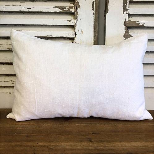 Rectangular Linen Cushion White