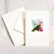 Petite peinture originale d'inspiration botanique sur carte double vendue avec enveloppe.