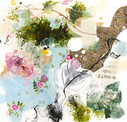 Petite peinture d'inspiration botanique, encadrée de passe-partout cartonné à envoyer, offrir ou accrocher chez soi ...14_5.jpg