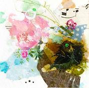 Petite peinture d'inspiration botanique, encadrée de passe-partout cartonné à envoyer, offrir ou accrocher chez soi ...