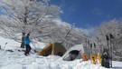 雪山でのテント泊