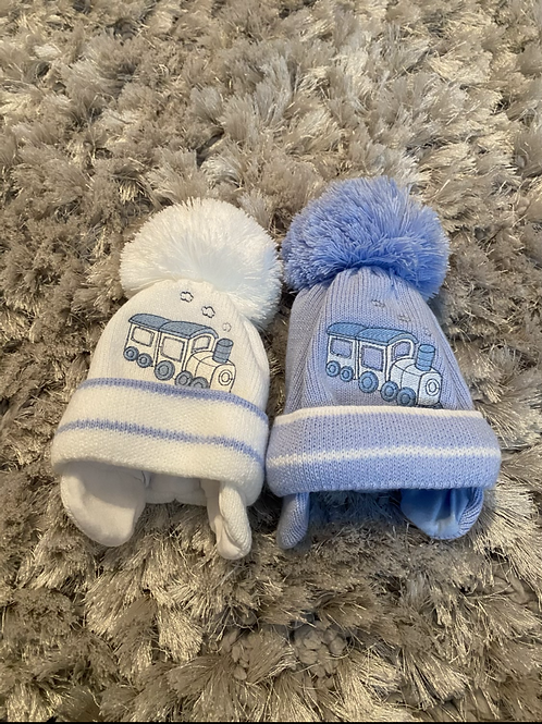 Blue and white train winter hats