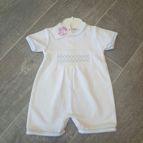 Little Nosh White Smock Romper