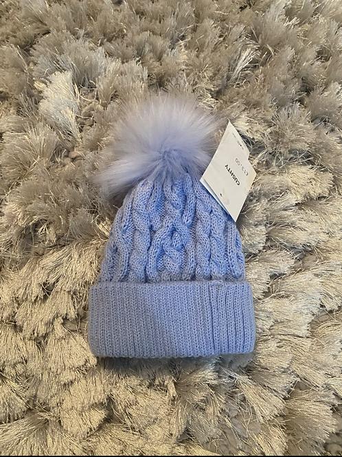 Cushty Blue fur Pom Pom hat