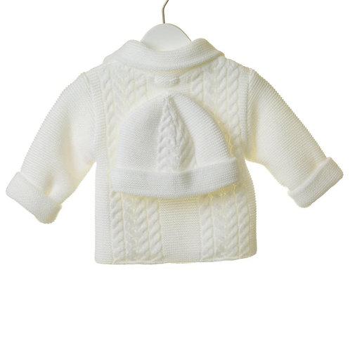 Knit white jacket and hat set.