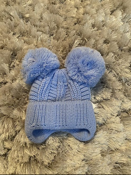 Blue winter double Pom Pom hat