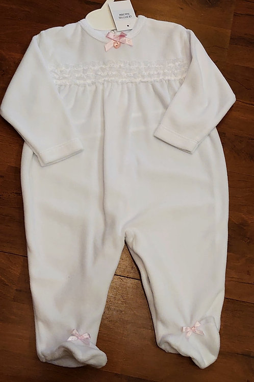 Little Nosh White Velour Ruffle Babygrow