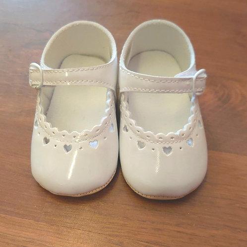 Little Cutie White Patent Pram Shoes