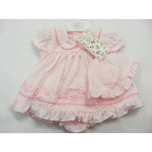 Sweet Elegance Pink Cotton Dress & Hat
