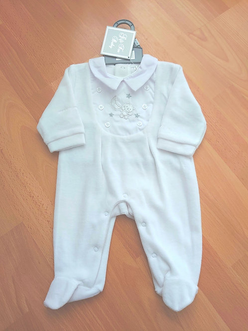 Just Too Cute Moon & Stars White Velour Babygrow