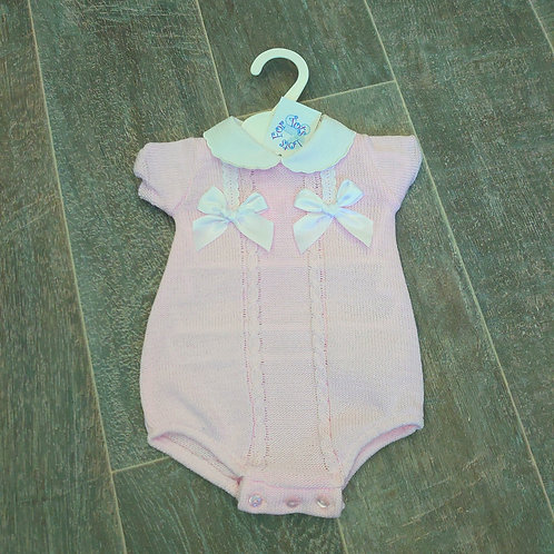 Little Nosh Knitted Pink Romper