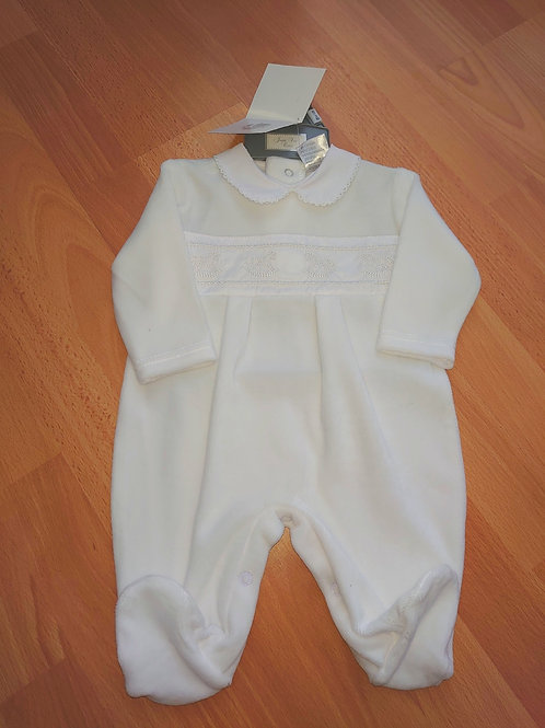 Just Too Cute Rocking Horse White Velour Babygrow