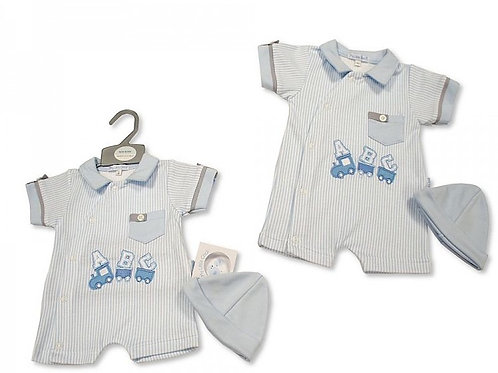 Baby boys summer romper and hat set