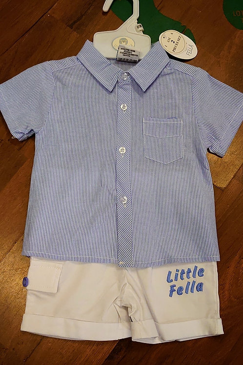 Little Fella Stripe Shirt & Shorts Set (small fitting)