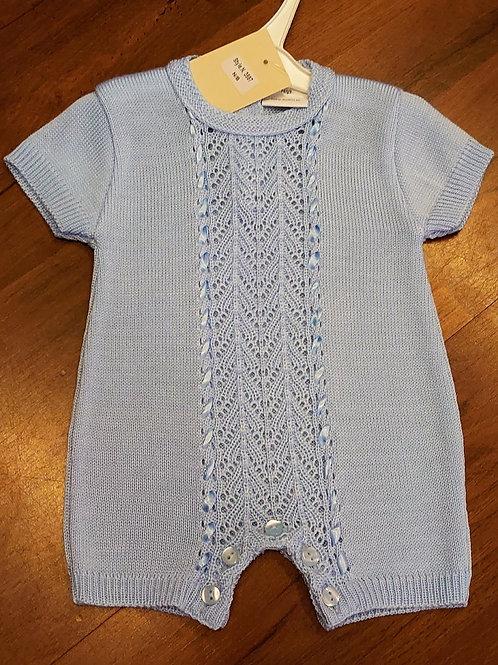 Little Nosh Fine Knit Blue Romper