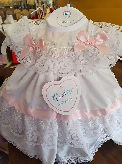 Kinder white and pink frilly dress