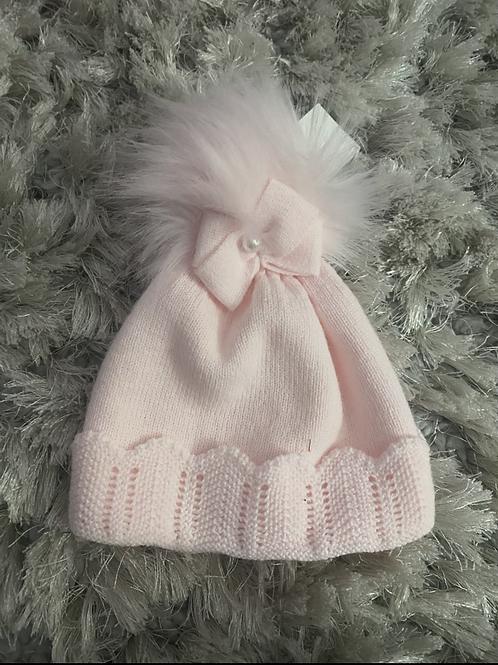 Pink bow fur Pom hat