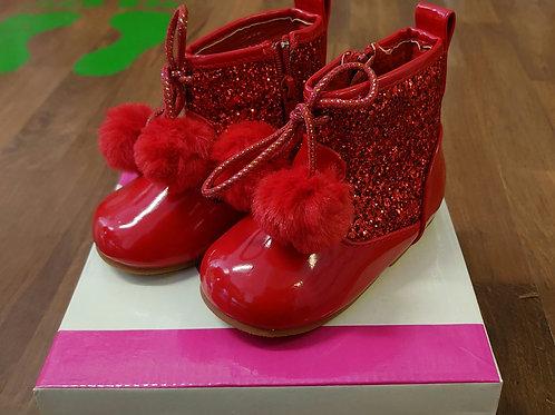 Tia London 8488 Red Glitter Boots