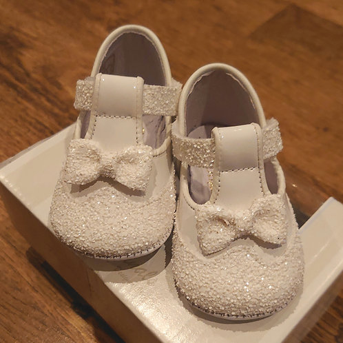 Pretty Originals White Glitter T-Bar Pram Shoes