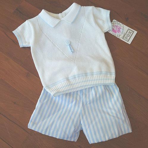 PEX Tailored Stripe Blue Shorts