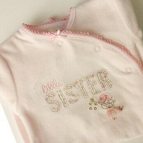 Cutey Pie Little Sister Velour Babygrow