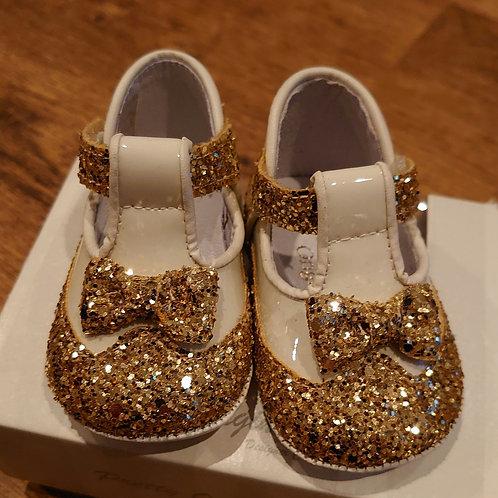 Pretty Originals Cream & Gold T-Bar Pram Shoes