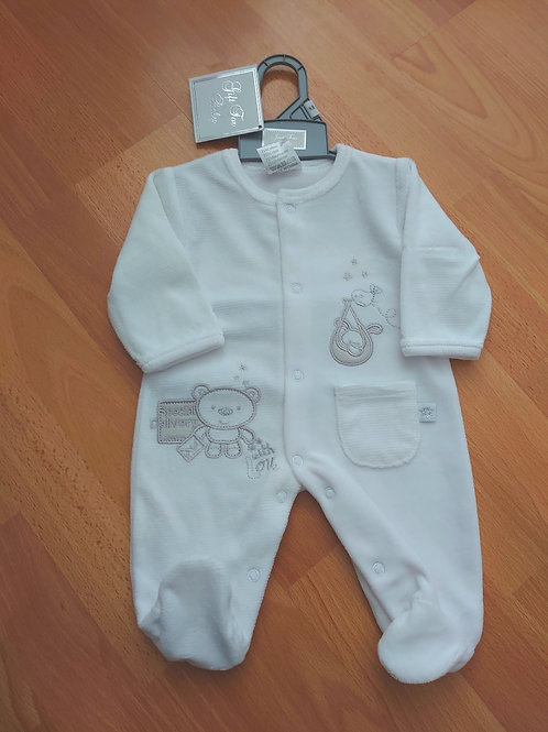 Just Too Cute White Velour Babygrow