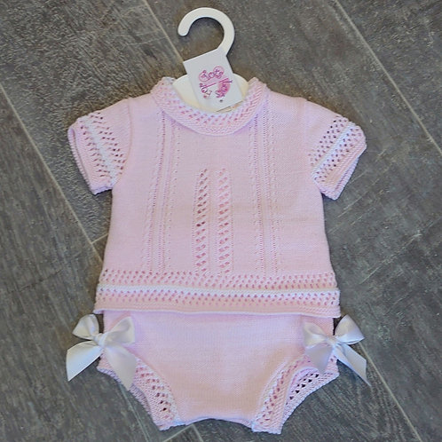 Little Nosh Pink Knitted Jam Pant Set