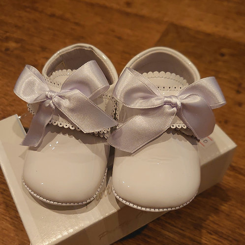 Pretty Originals White Patent Velcro Pram Shoes