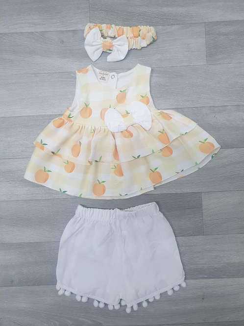 Peach Dress & Shorts with Headband (2 colours)