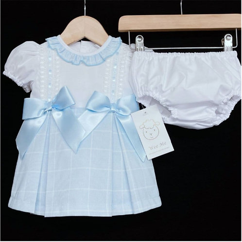 WeeMee Blue Check Spanish Princess Dress & Knickers