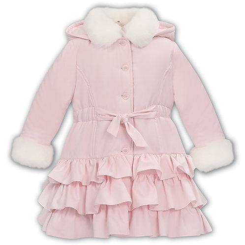 Dani Pink Ruffle & Fur Trim Coat