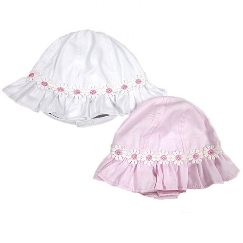 Pesci White Daisy Trim Hat