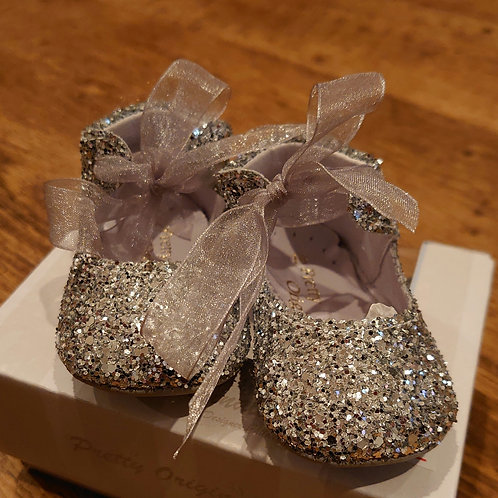 Pretty Originals Silver Glitter Pram Shoes