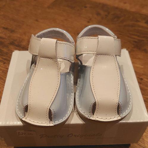 Pretty Originals White/Blue Patent Sandals