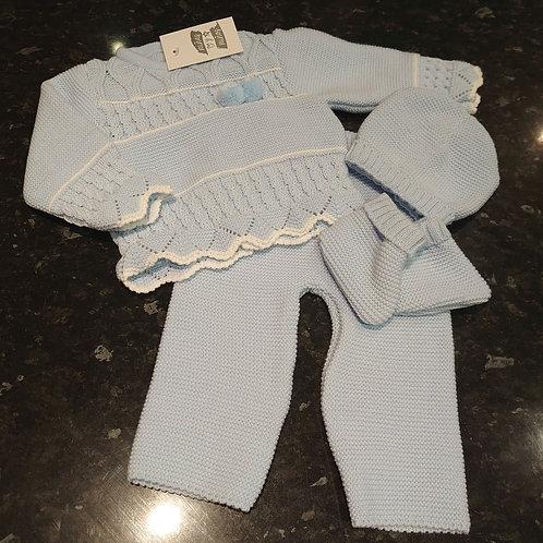 Ninas Y Ninos Blue 5pce Knitted Set