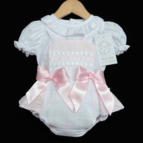 WeeMee Spanish Pink Check Romper & Blouse Set